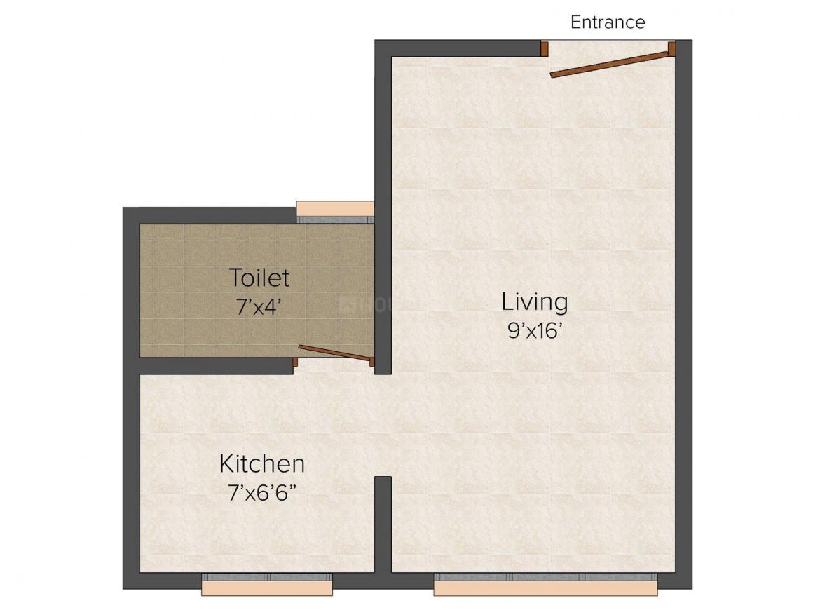 Dhruv Galaxy Floor Plan: 1 BHK Unit with Built up area of 370 sq.ft 1