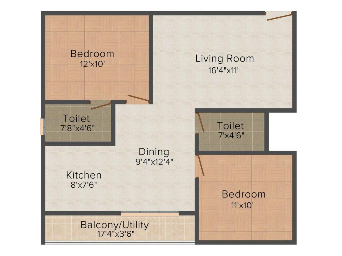 Floor Plan Image of 1040 - 1350 Sq.ft 2 BHK Apartment for buy in Aaryan Sheltons