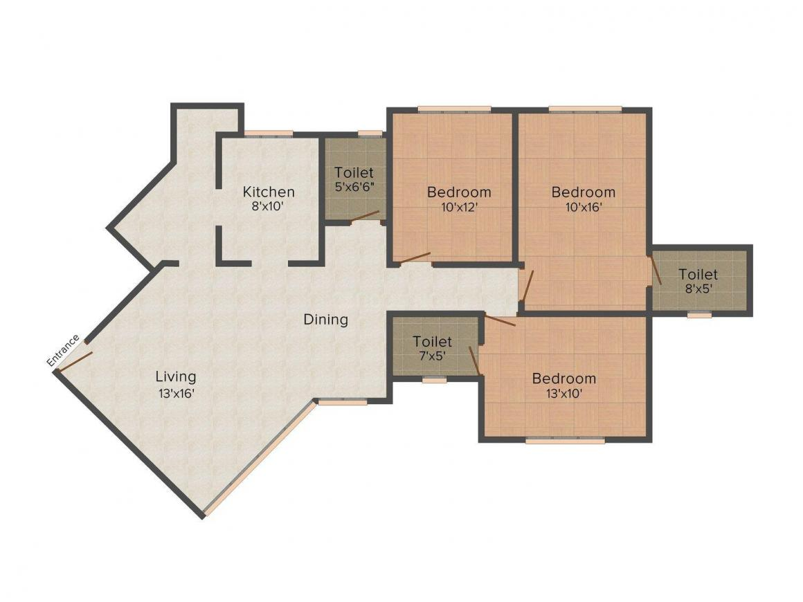 Floor Plan Image of 0 - 1323.0 Sq.ft 3 BHK Apartment for buy in Nirmal Triumph
