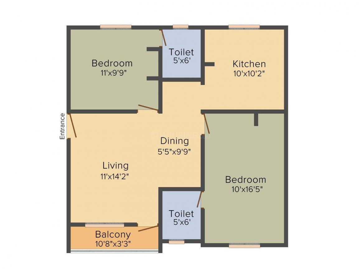 Mehta Kuber Floor Plan: 2 BHK Unit with Built up area of 972 sq.ft 1