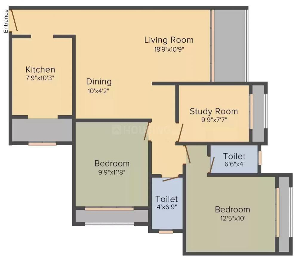 Lokhandwala Fountain Heights Floor Plan: 2 BHK Unit with Built up area of 1255 sq.ft 1