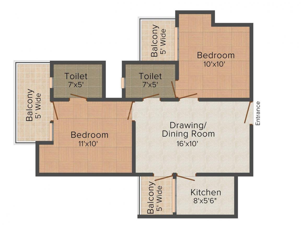 Floor Plan Image of 890.0 - 1660.0 Sq.ft 2 BHK Apartment for buy in Supertech Ecovillage IV