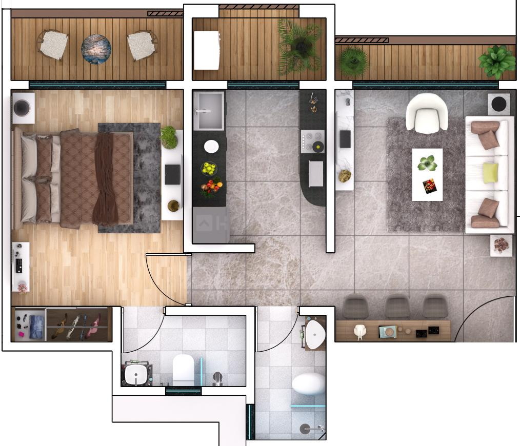 Rassaz Greens  Floor Plan: 1 BHK Unit with Built up area of 730 sq.ft 1