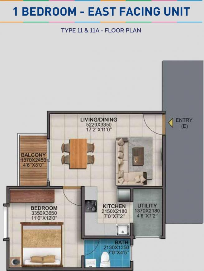 Vaishnavi Serene Floor Plan: 1 BHK Unit with Built up area of 635 sq.ft 1