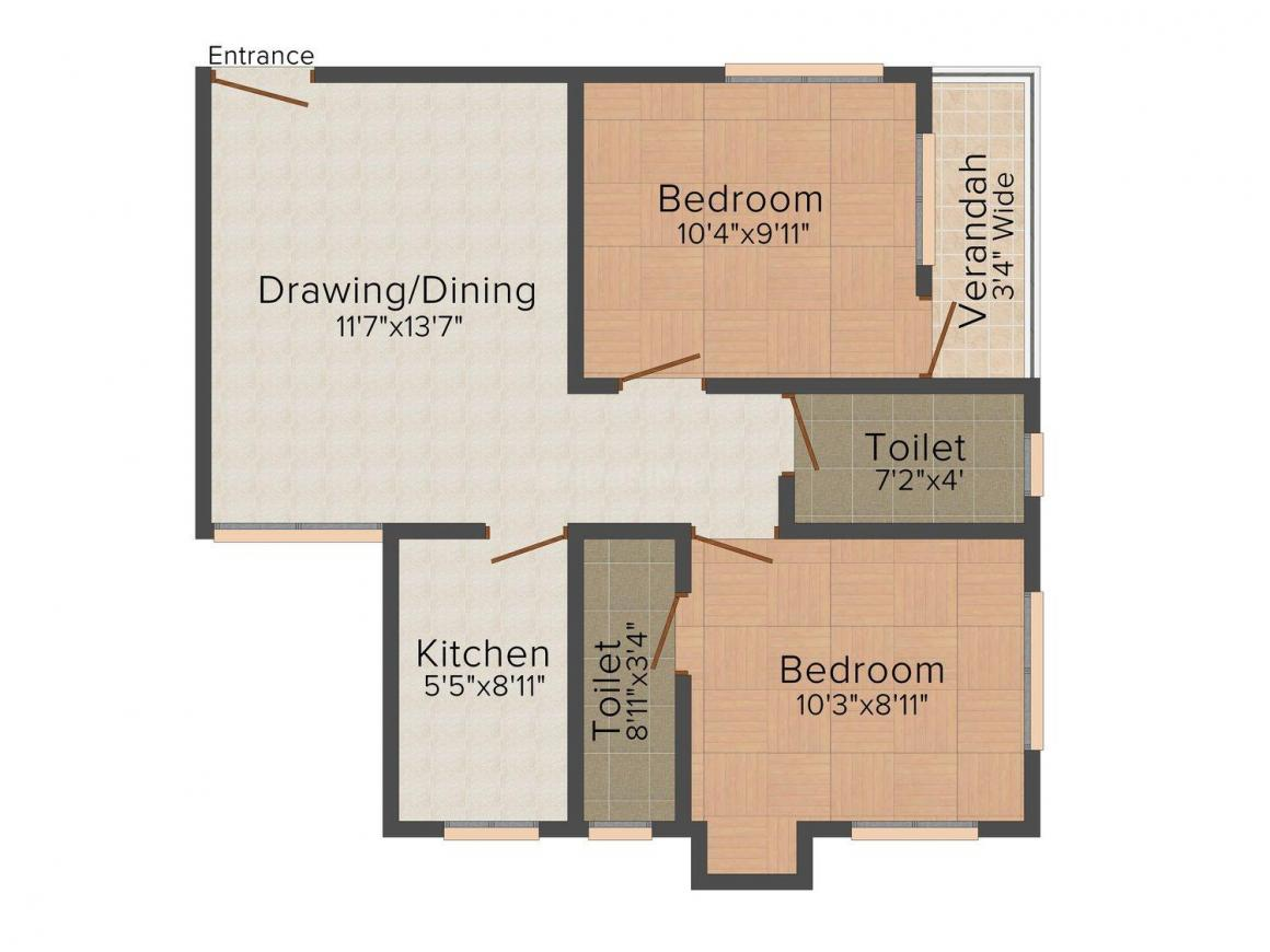 Floor Plan Image of 801 - 859 Sq.ft 2 BHK Apartment for buy in Biswas Jeet Icon