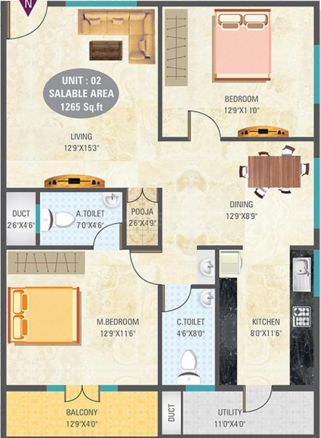 Eshwaree Orchids Floor Plan: 2 BHK Unit with Built up area of 1265 sq.ft 1