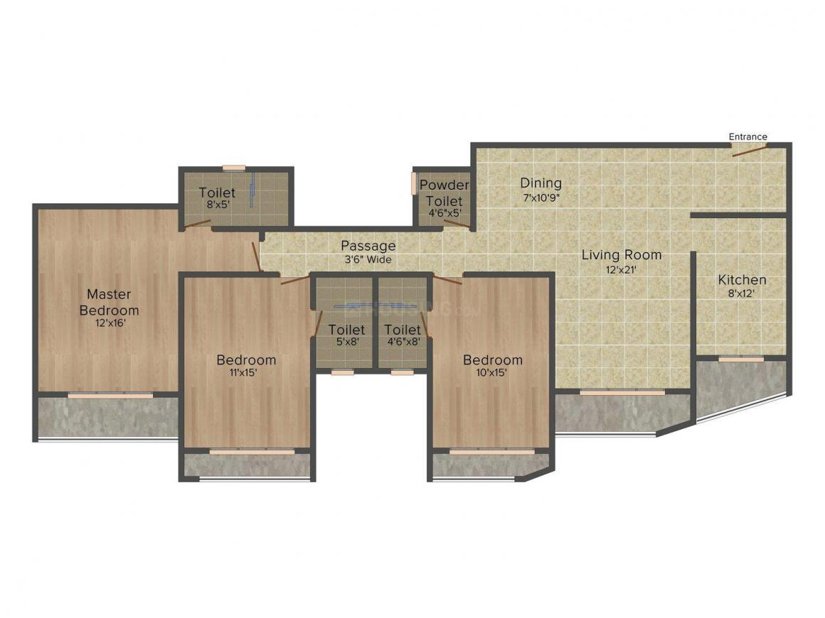 Floor Plan Image of 1800 - 2860 Sq.ft 3 BHK Apartment for buy in Rustomjee Oriana