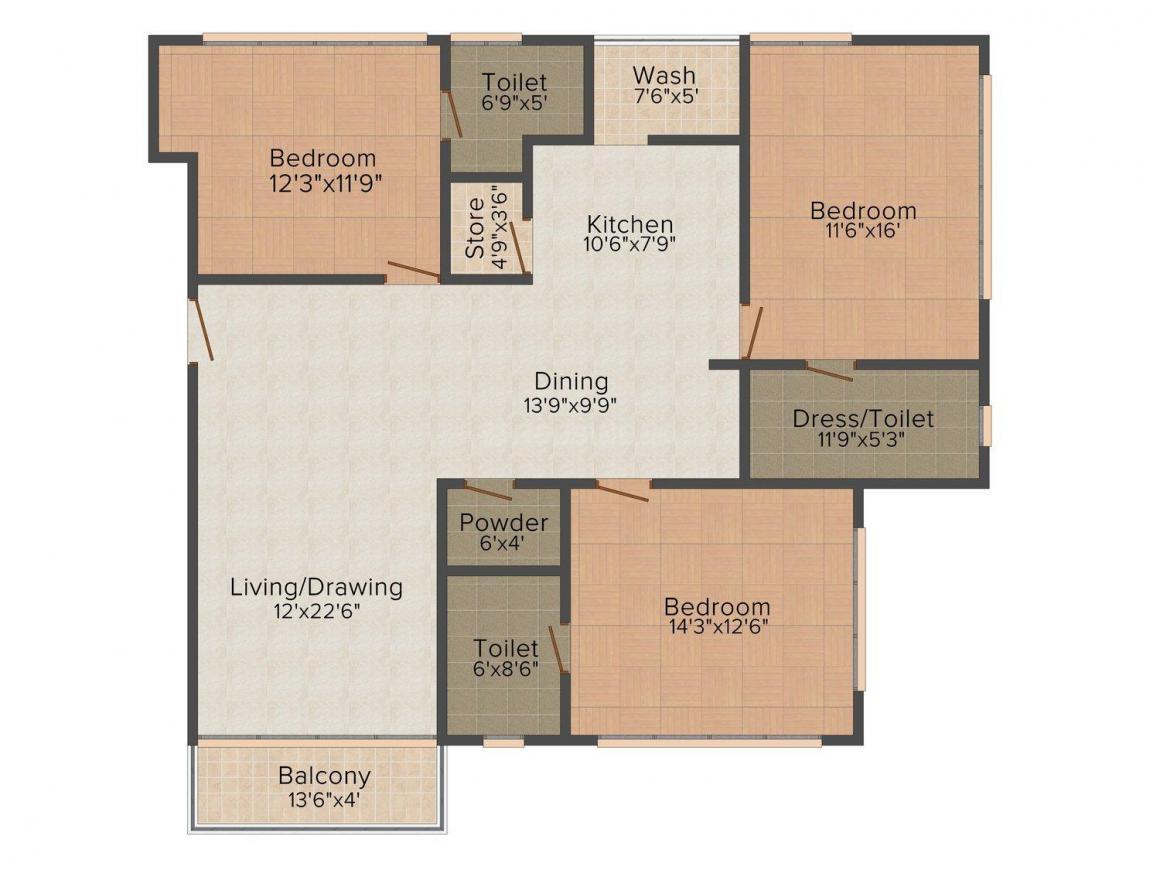 Bakeri Sonnet Floor Plan: 3 BHK Unit with Built up area of 2425 sq.ft 1