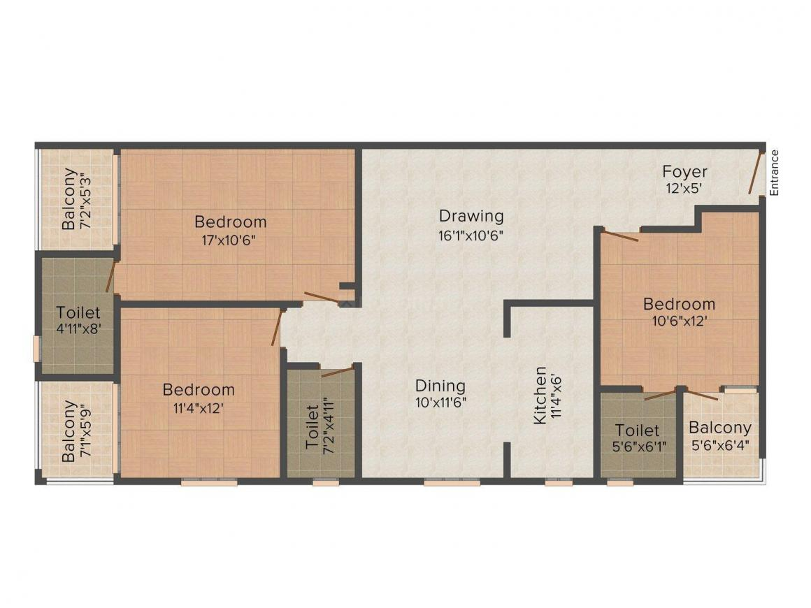 Universal Green Sagar Enclave Floor Plan: 3 BHK Unit with Built up area of 1725 sq.ft 1