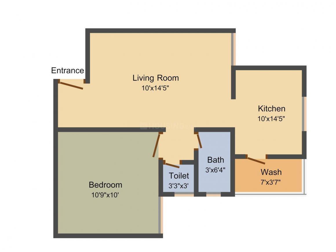 Sarjan Neelkanth Residency Floor Plan: 1 BHK Unit with Built up area of 666 sq.ft 1