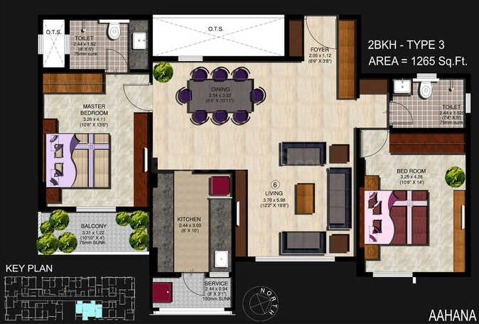 Parsn Aahana Floor Plan: 2 BHK Unit with Built up area of 1265 sq.ft 1