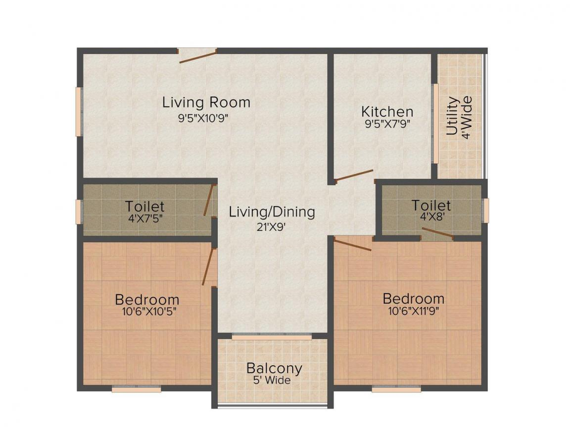 Floor Plan Image of 780.0 - 1361.0 Sq.ft 2 BHK Apartment for buy in Sai Vinay City