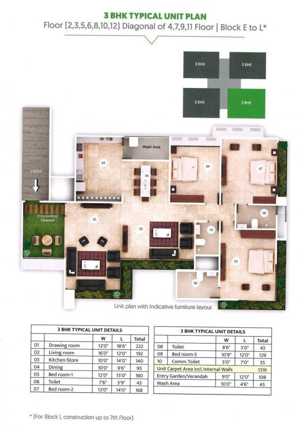 Maple Tree Garden Homes Floor Plan: 3 BHK Unit with Built up area of 1469 sq.ft 1