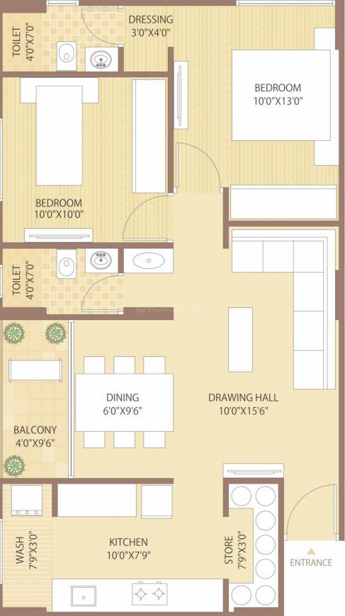 Devnandan Gunjan Flat Floor Plan: 2 BHK Unit with Built up area of 642 sq.ft 1