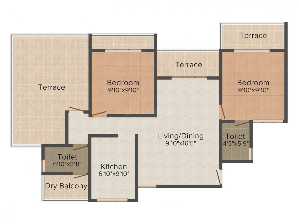 Floor Plan Image of 1110 - 1295 Sq.ft 2 BHK Apartment for buy in Ev Emerald Heights
