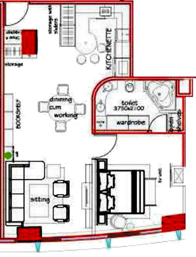 Shristi Infrastructure Development The V Floor Plan: 1 BHK Unit with Built up area of 1250 sq.ft 1