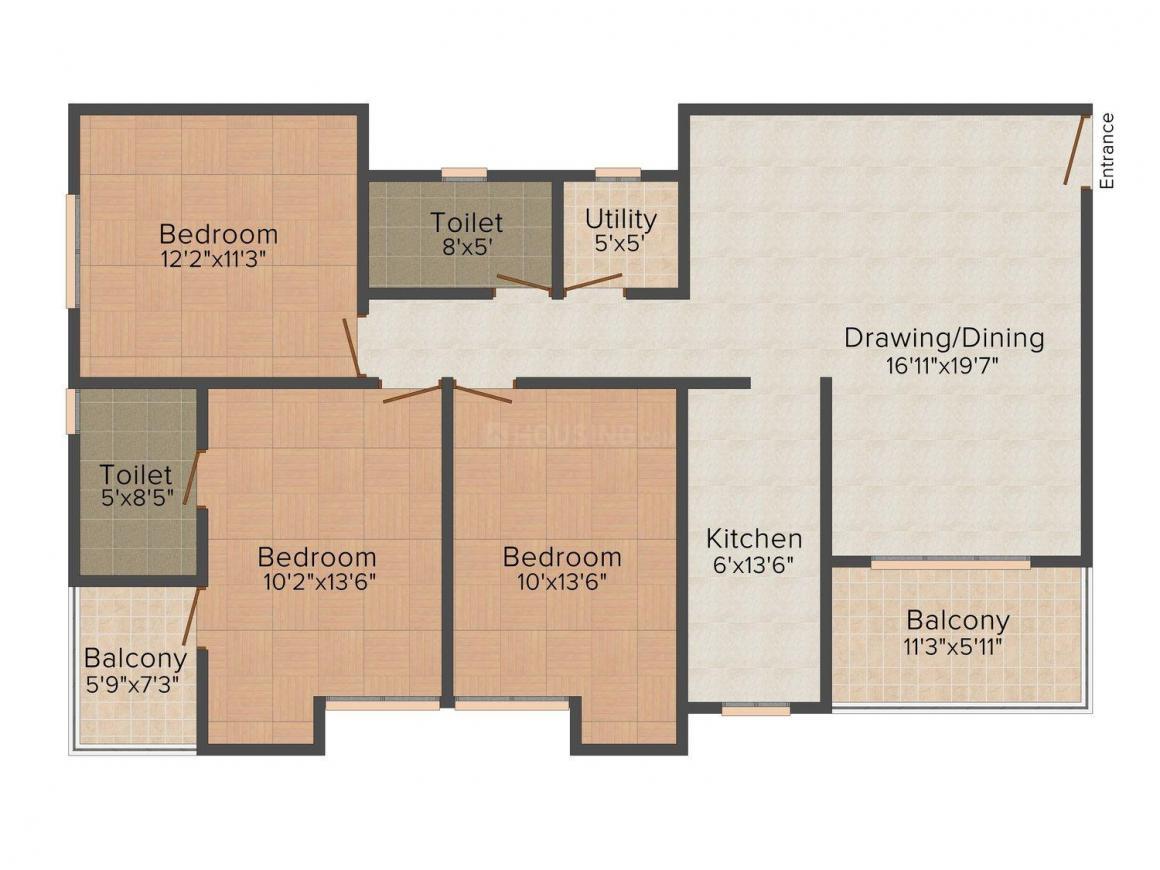 Floor Plan Image of 0 - 1460 Sq.ft 3 BHK Apartment for buy in Ashiana Nargis