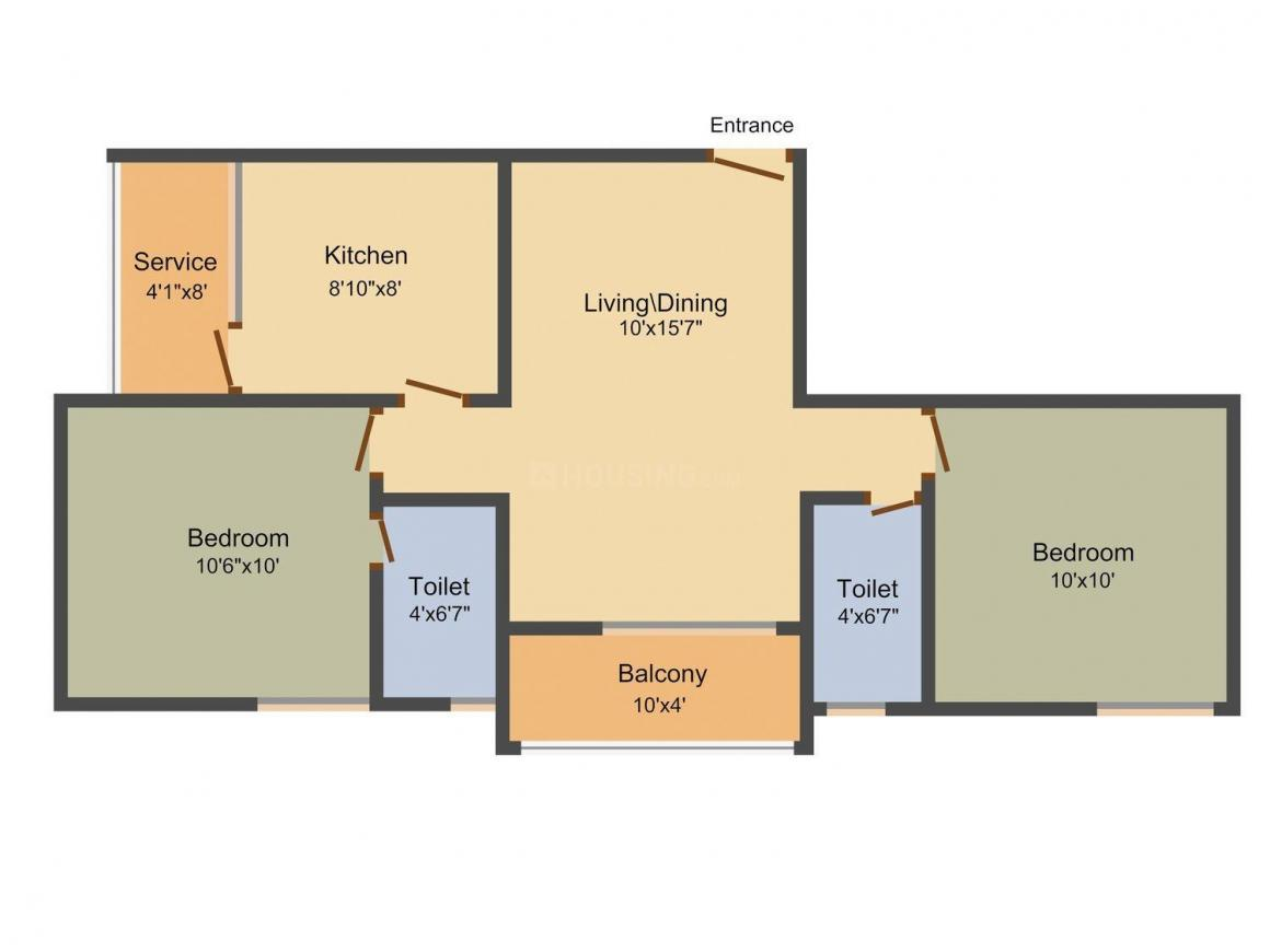 Floor Plan Image of 832 - 1211 Sq.ft 2 BHK Apartment for buy in Ruby Royal