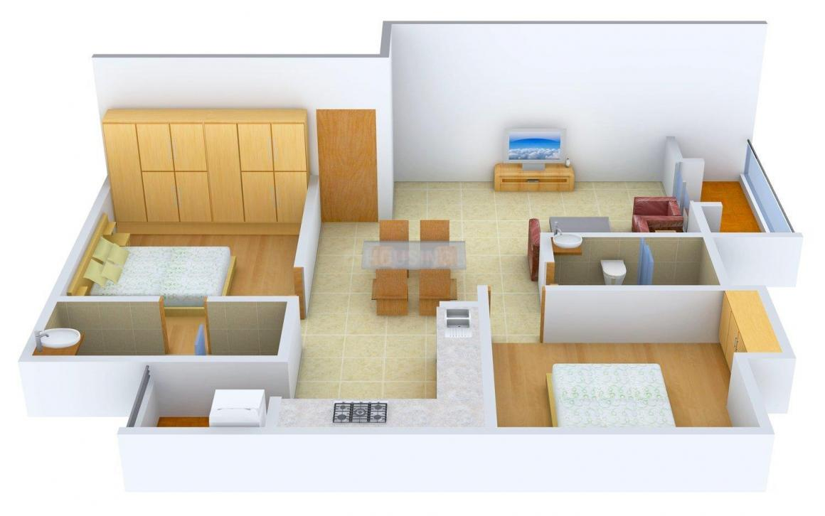 Floor Plan Image of 661.77 - 795.24 Sq.ft 2 BHK Apartment for buy in Nandi Shelters
