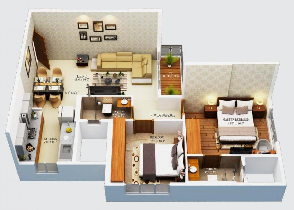 CR Primo Floor Plan: 2 BHK Unit with Built up area of 631 sq.ft 1