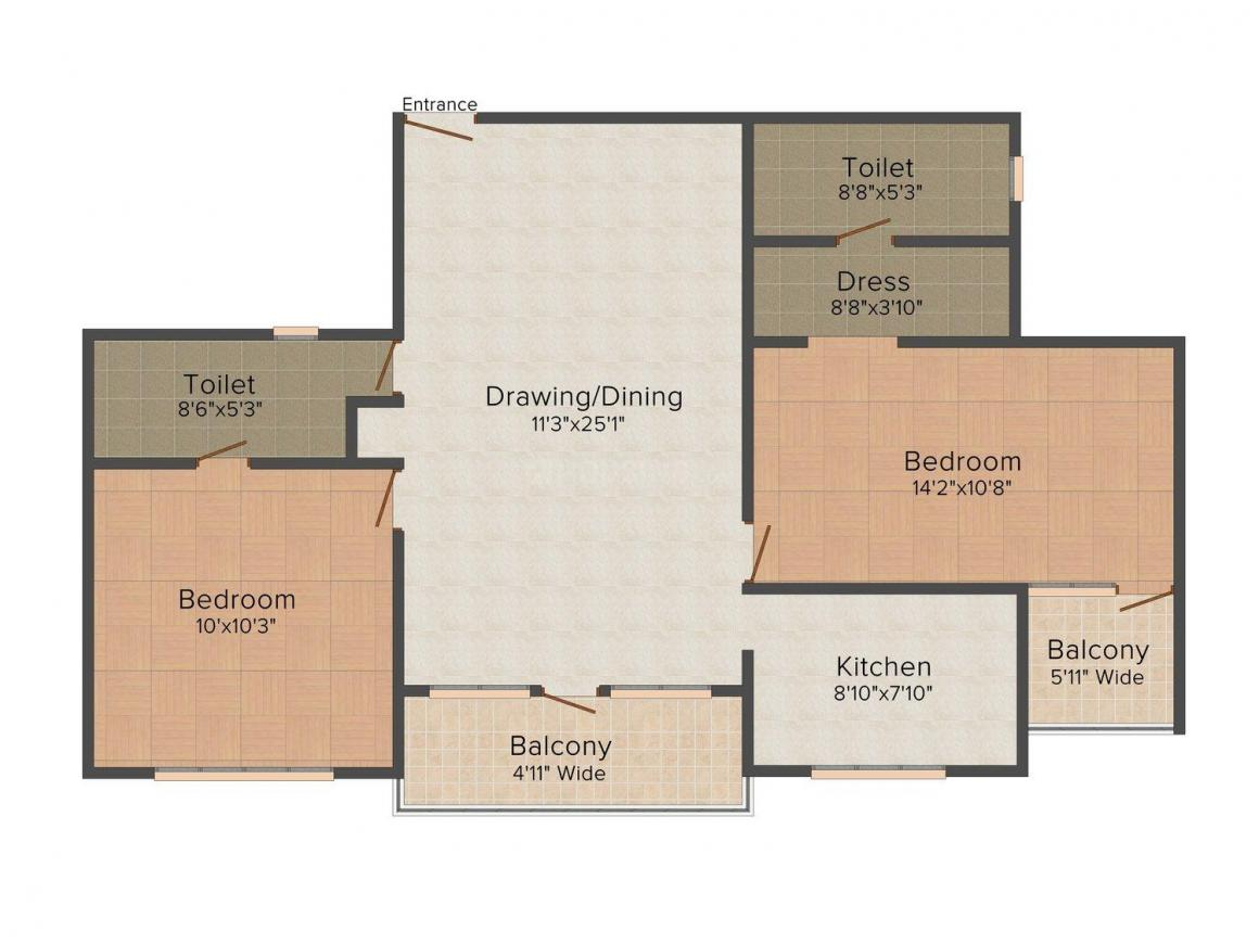 Floor Plan Image of 1150 - 1600 Sq.ft 2 BHK Apartment for buy in Anand Sheetal