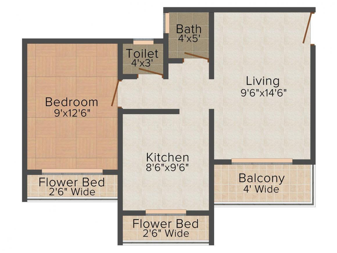 Floor Plan Image of 680.0 - 950.0 Sq.ft 1 BHK Apartment for buy in Elite Landmark