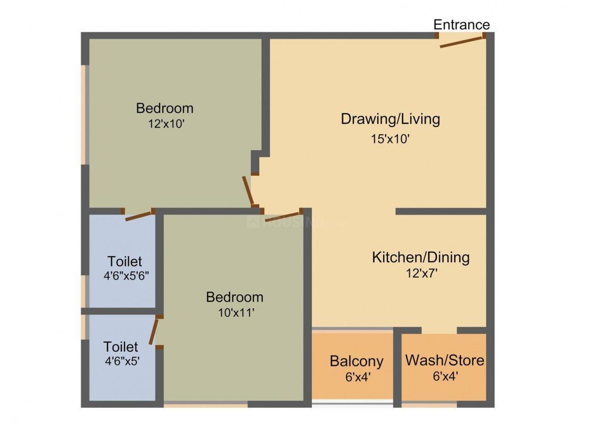 Rajyash Reyansh Floor Plan: 2 BHK Unit with Built up area of 550 sq.ft 1