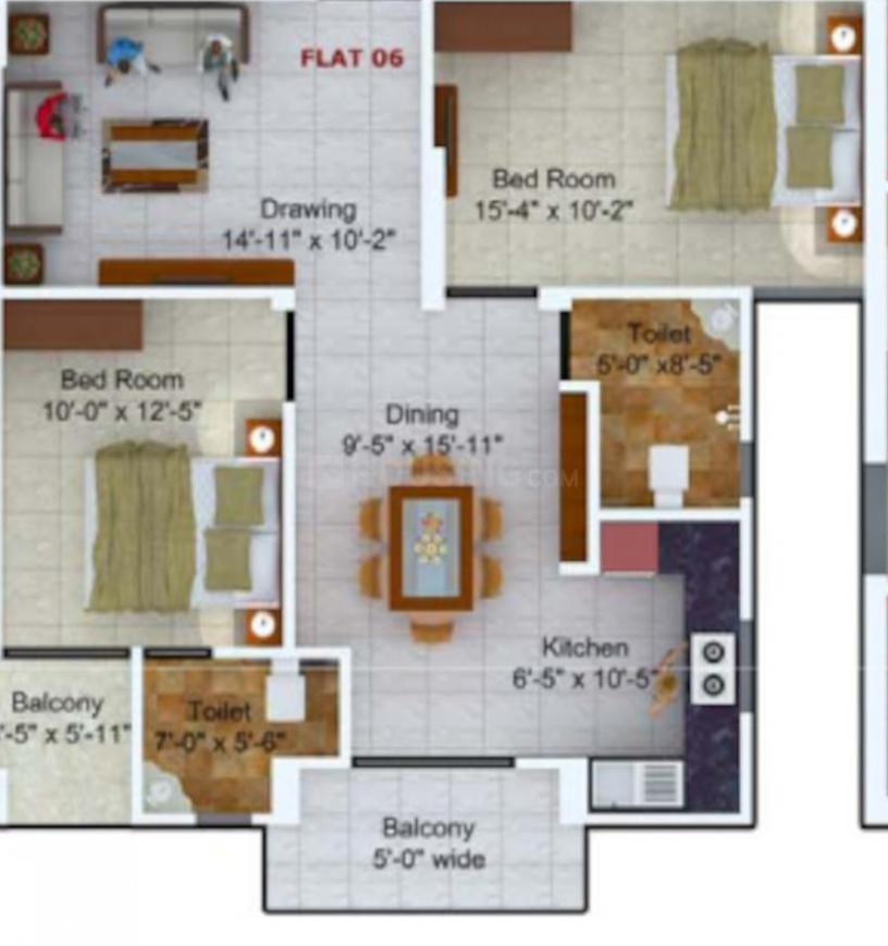 Sunrise Sai Plaza Floor Plan: 3 BHK Unit with Built up area of 1069 sq.ft 1
