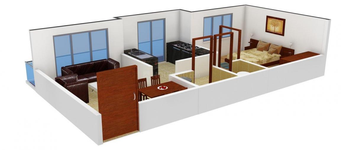 Floor Plan Image of 510 - 590 Sq.ft 1 BHK Apartment for buy in Recons Gayatri Park