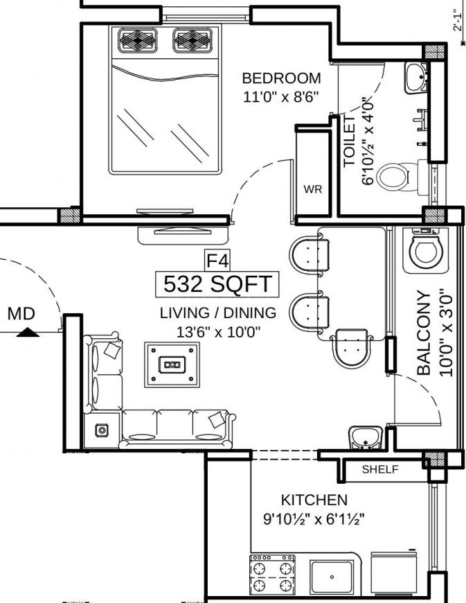 Asset ATH Krish 2 Floor Plan: 1 BHK Unit with Built up area of 532 sq.ft 1
