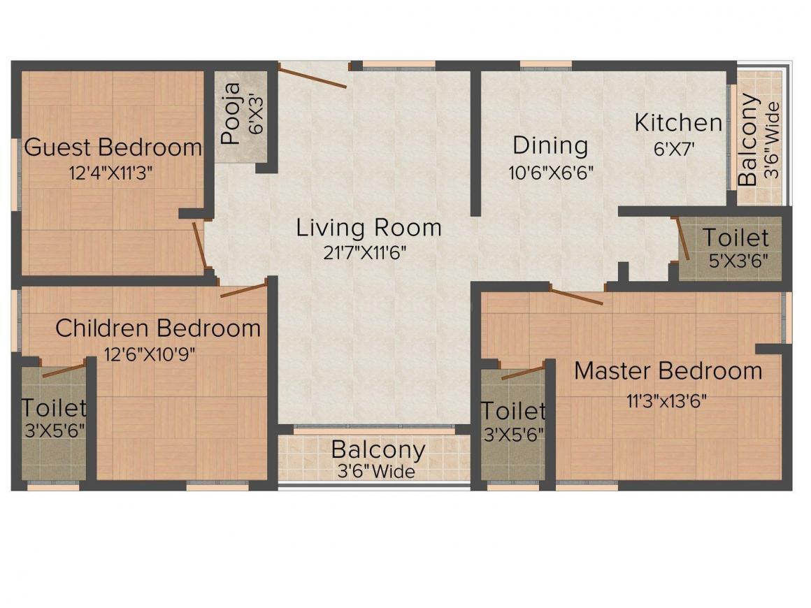 Uma Nivas Floor Plan: 3 BHK Unit with Built up area of 1600 sq.ft 1