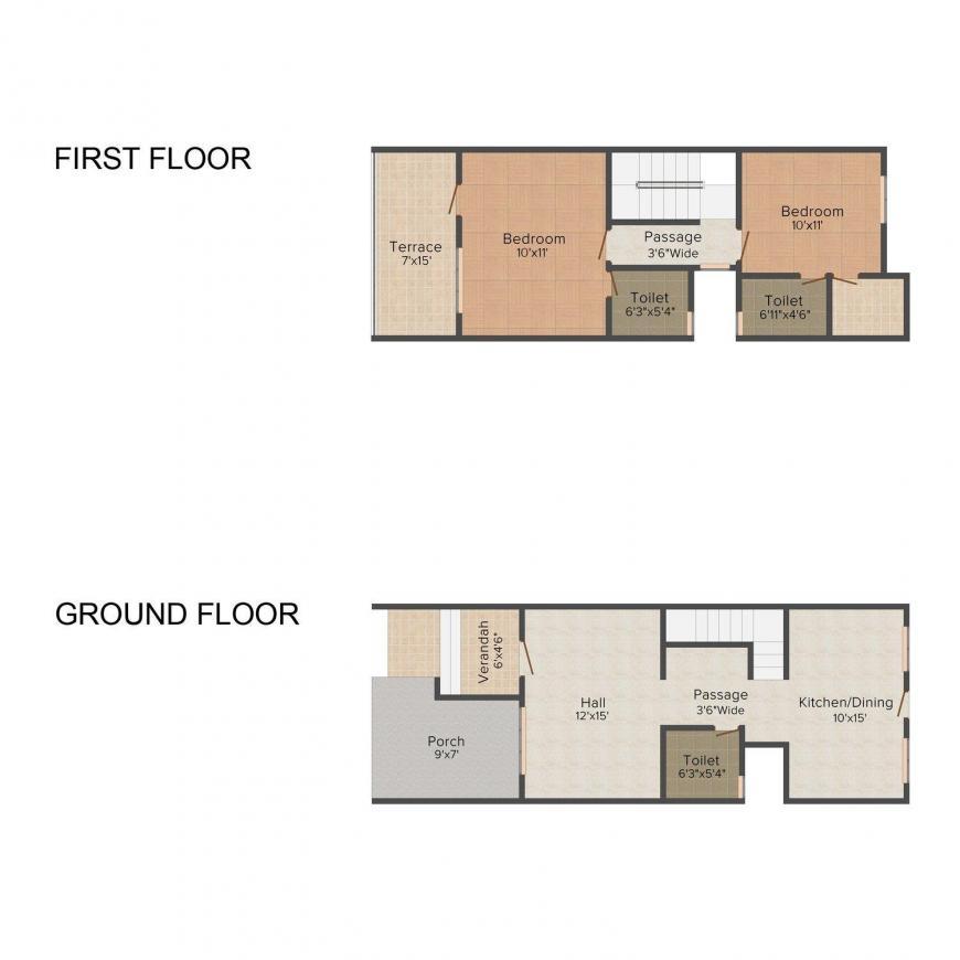 Floor Plan Image of 0 - 1020.0 Sq.ft 2 BHK Villa for buy in Kohinoor Sai Jannat