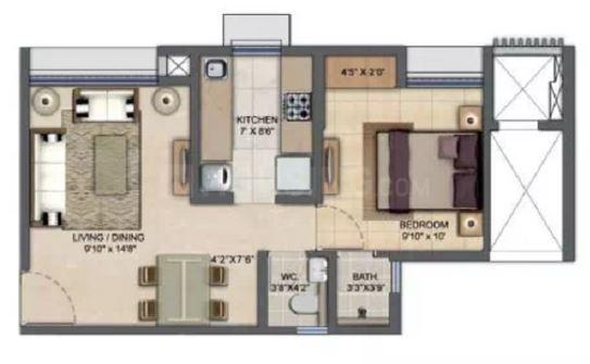 Lodha Upper Thane Casa Sereno Floor Plan: 1 BHK Unit with Built up area of 415 sq.ft 1