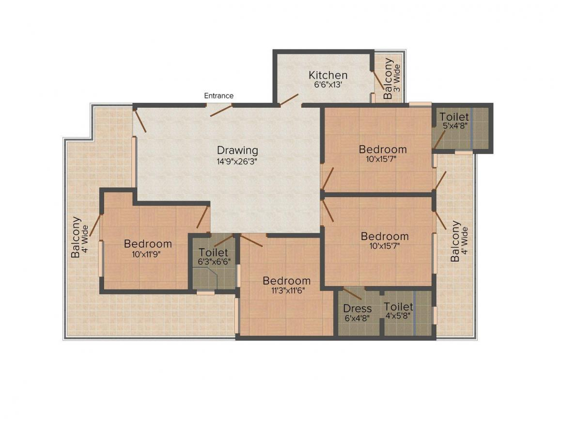 Home Retreat The Saffron Homes 7 Floor Plan: 4 BHK Unit with Built up area of 1890 sq.ft 1