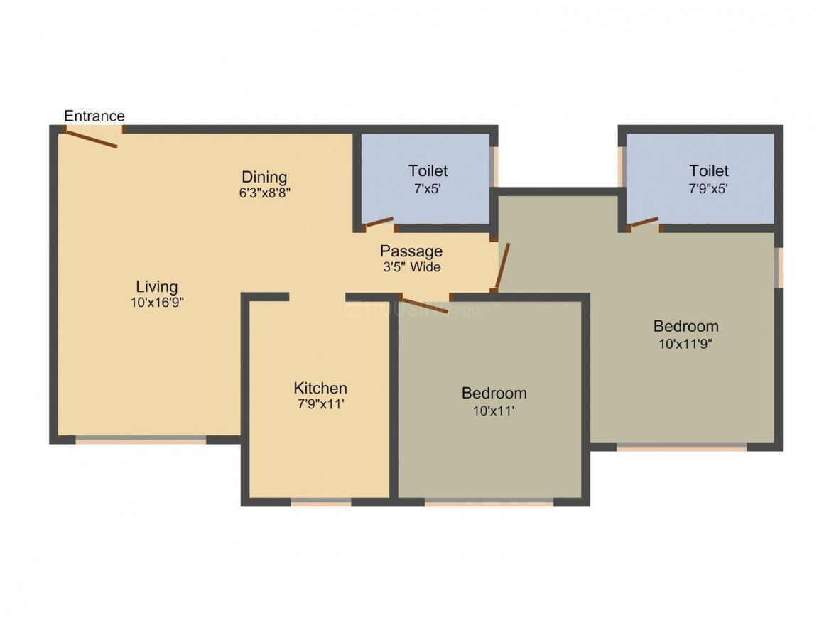 Dhaval Sunrise Charkop Wing C Floor Plan: 2 BHK Unit with Built up area of 691 sq.ft 1