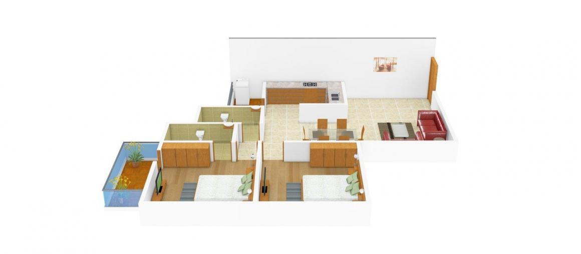 Floor Plan Image of 0 - 1120 Sq.ft 2 BHK Apartment for buy in Apna Ghar Ho Shubh Labh