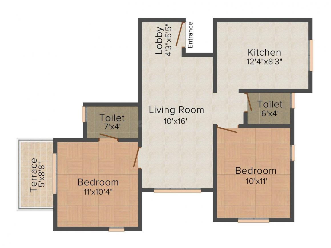 Floor Plan Image of 0 - 950.0 Sq.ft 2 BHK Apartment for buy in Shree Shakuntal