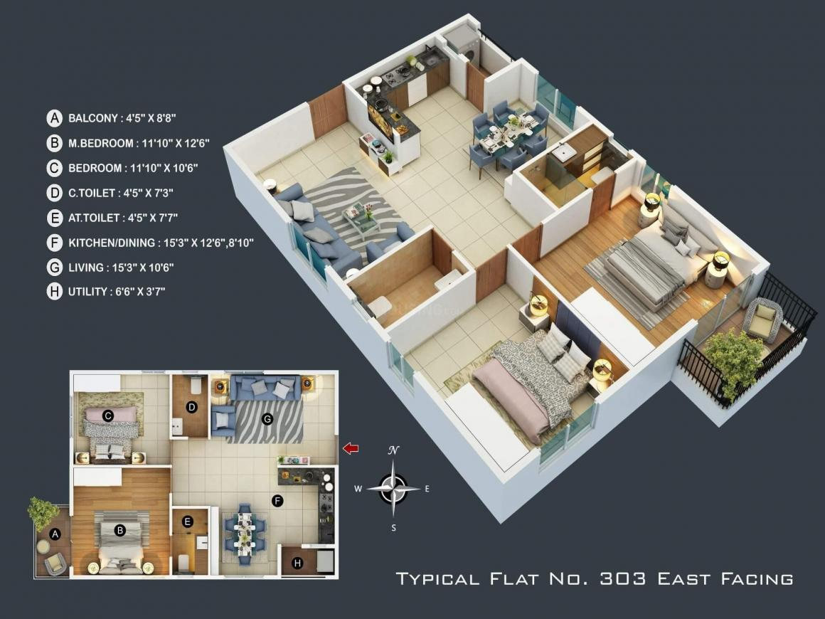 Trifecta Bueno Floor Plan: 2 BHK Unit with Built up area of 724 sq.ft 1
