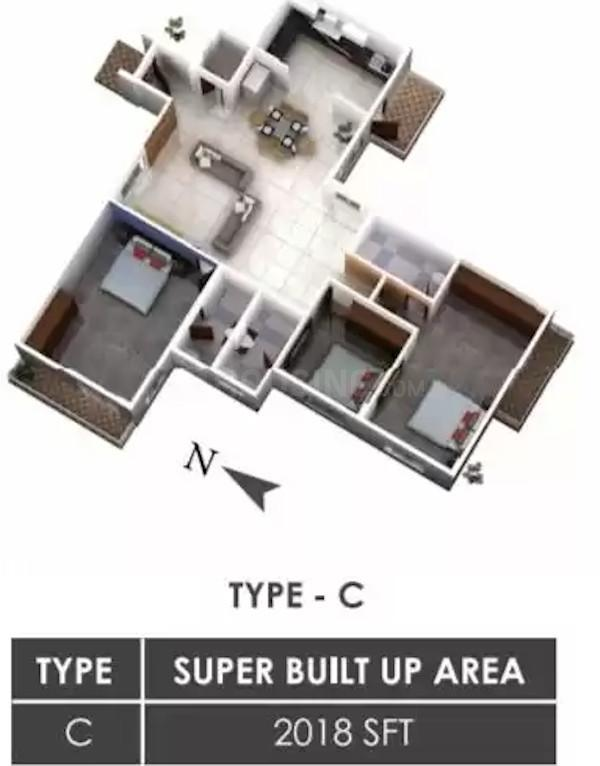 Shreeshaila The Lebensraum Floor Plan: 3 BHK Unit with Built up area of 2018 sq.ft 1