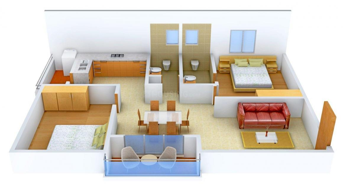 Floor Plan Image of 1087.0 - 1253.0 Sq.ft 2 BHK Apartment for buy in Keystone Ankuraa Park View