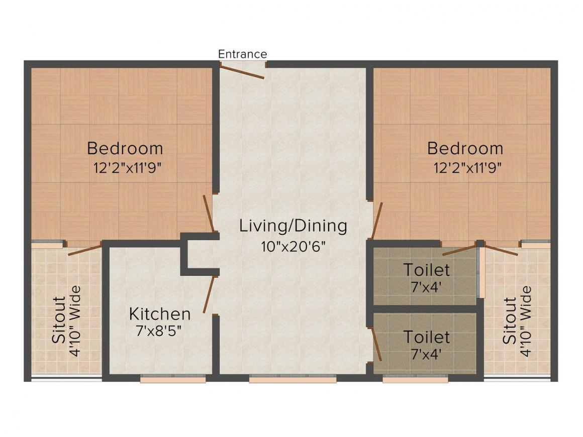 Roshan M R Saudhagar Estate Floor Plan: 2 BHK Unit with Built up area of 912 sq.ft 1