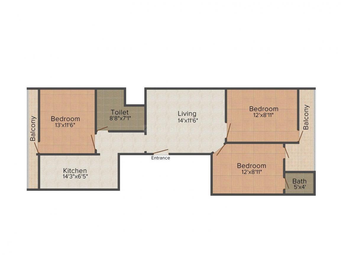 Floor Plan Image of 0 - 900 Sq.ft 3 BHK Independent Floor for buy in SBA Homes - VIII