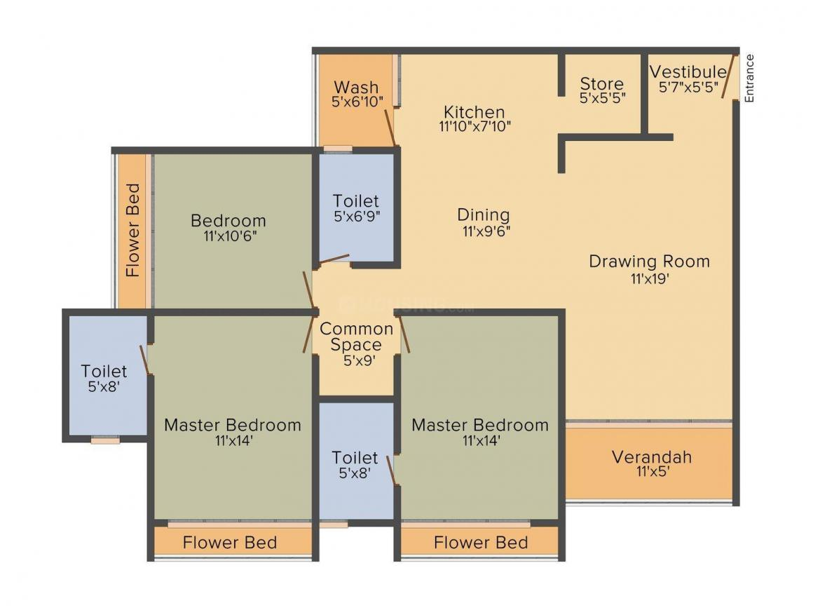 Enigma Floor Plan: 3 BHK Unit with Built up area of 1650 sq.ft 1