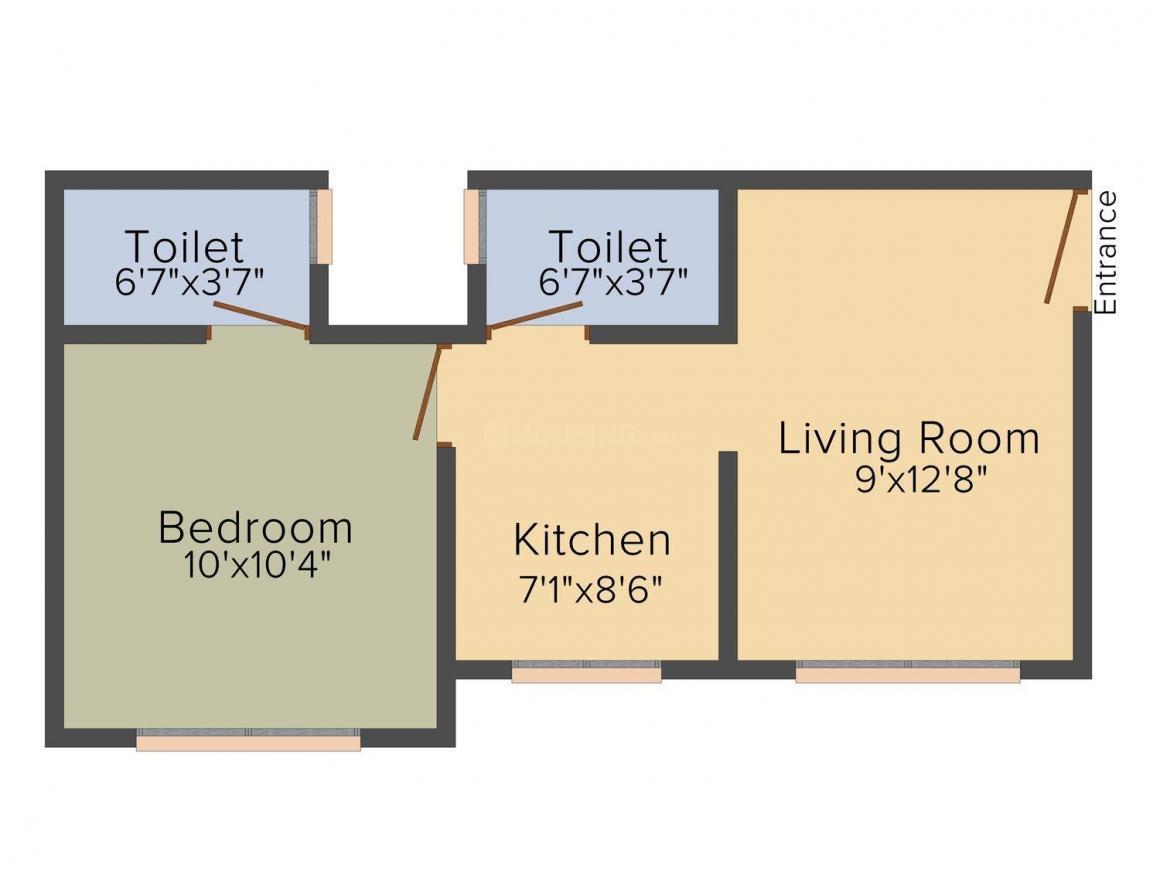 PCS Sanskriti Floor Plan: 1 BHK Unit with Built up area of 555 sq.ft 1