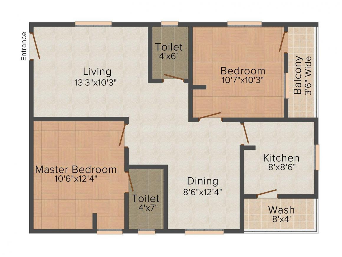 Floor Plan Image of 945 - 965 Sq.ft 2 BHK Apartment for buy in TMR Tulips