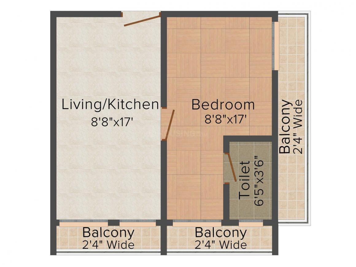 Floor Plan Image of 286 - 1308 Sq.ft 1 BHK Studio Apartment for buy in Lordkrishna Pushpanjali