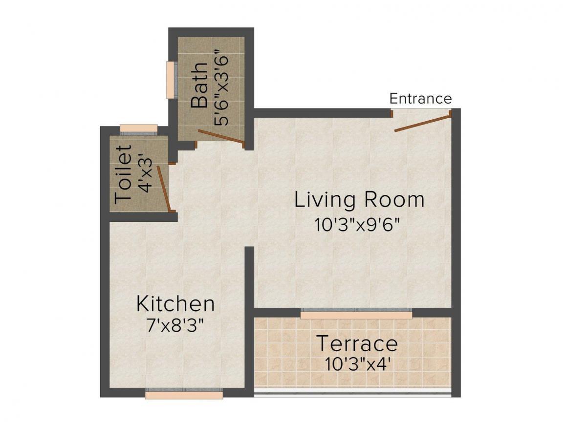 Floor Plan Image of 340.0 - 780.0 Sq.ft 1 RK Apartment for buy in S Kumar Vishwanath Regency