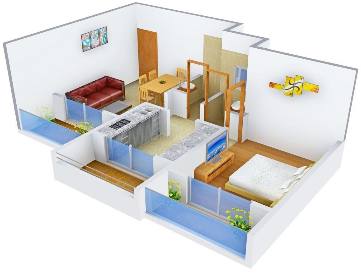 Floor Plan Image of 440.0 - 640.0 Sq.ft 1 BHK Apartment for buy in Singh Ikon