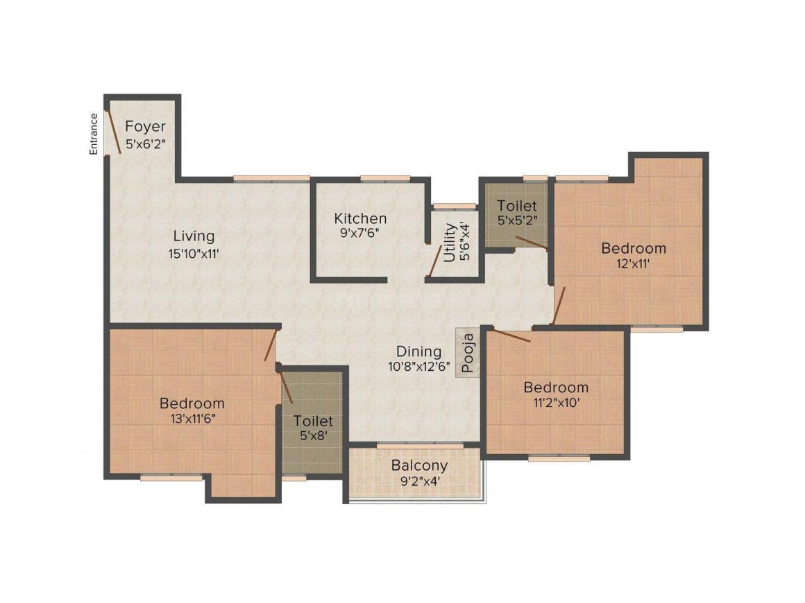 Floor Plan Image of 1374 - 1825 Sq.ft 3 BHK Apartment for buy in Navin Aaradhana