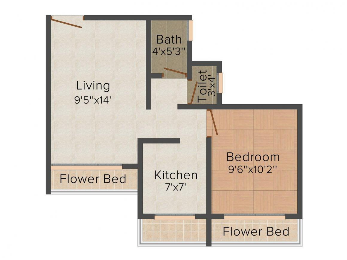 Floor Plan Image of 390.0 - 920.0 Sq.ft 1 BHK Apartment for buy in Labh Aspire